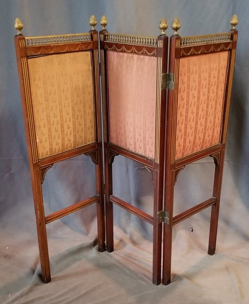 ENGLISH MAHOGANY AND BRASS SMALL BI-FOLD SCREEN