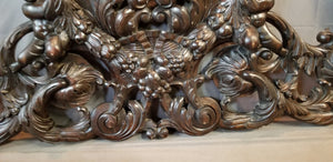 HUGE 7' LONG  ITALIAN CHERUB AND FRUIT CARVED PEDIMENT