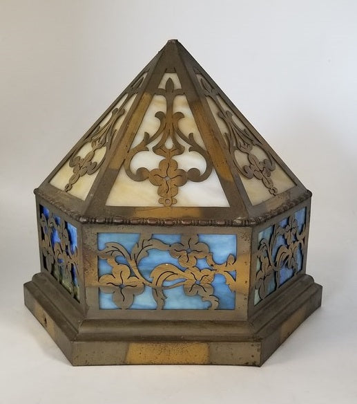 SMALL BRASS AND STAINED GLASS CEILING LIGHT - NEEDS BULB SOCKET
