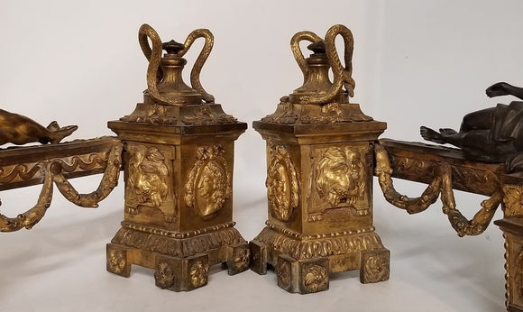 PAIR OF SMALL BRASS ANDIRONS WITH CLASSICAL FIGURES AND SNAKES
