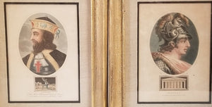 PAIR OF SMALL FRAMED COLORED ENGRAVINGS OF CLOVIS AND PERICLES