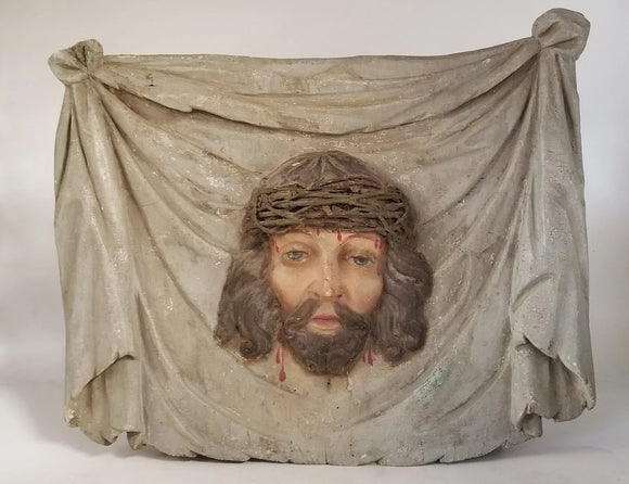 19TH CENTURY CARVED PLAQUE WITH HEAD OF JESUS AND CROWN OF THORNS