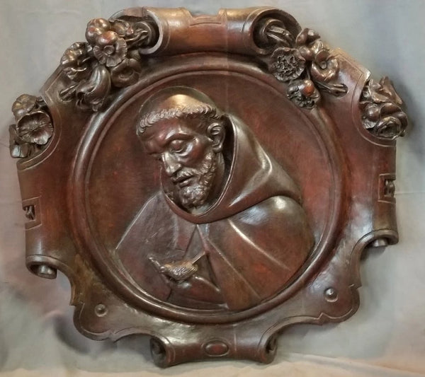 LARGE FRENCH CARVED OAK SAINT FRANCIS PLAQUE 19TH CENTURY