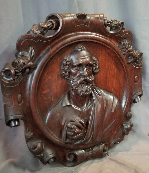 LARGE FRENCH CARVED OAK SAINT PETER PLAQUE 19TH CENTURY