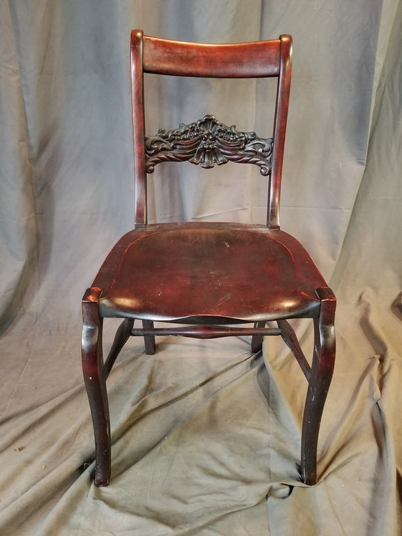 STICKLEY-BRANDT 1880'S SHELL CARVED BACK MAHOGANY DESK CHAIR