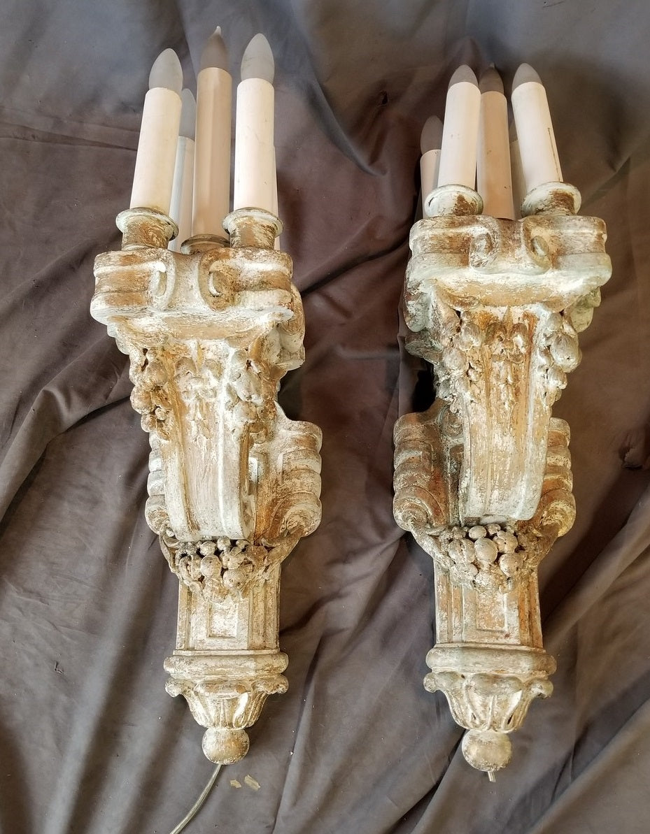 PAIR OF WHITE PAINTED FRENCH WOOD SCONCES