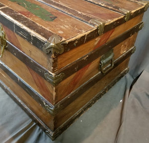 CAMPHOR WOOD BANDED STEAMER TRUNK WITH WORN PAINT
