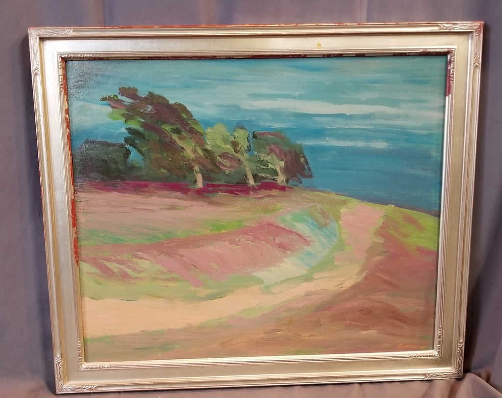 AS FOUND CARMEL CALIFORNIA LANDSCAPE OIL PAINTING BY J.GUZMAN