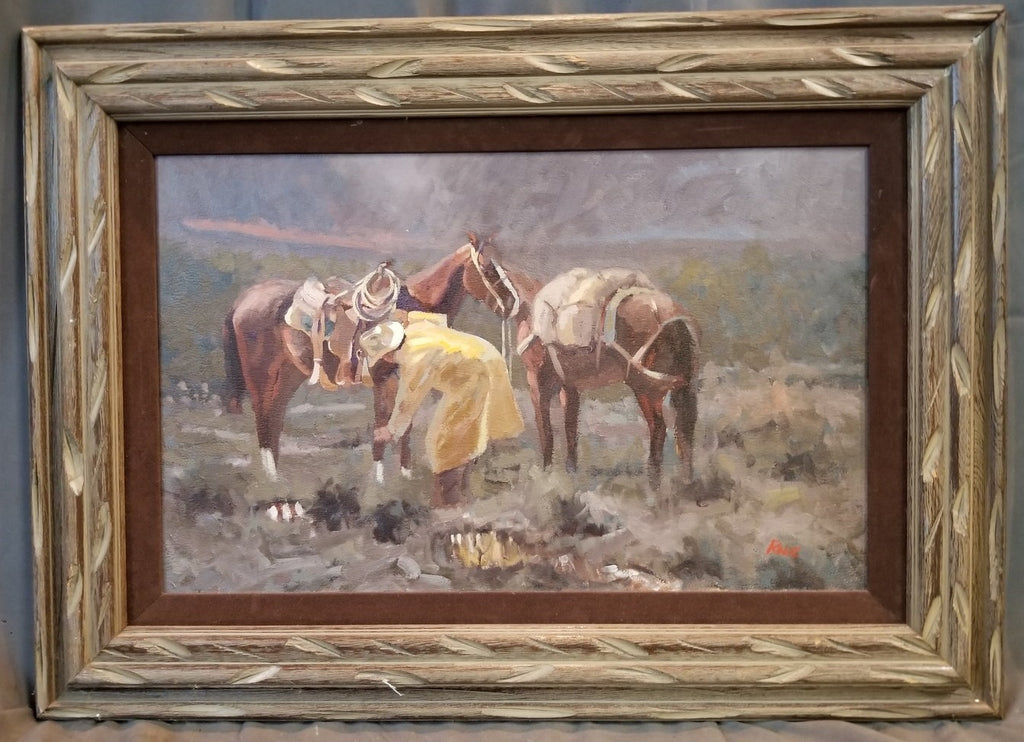 FRAMED OIL PAINTING OF COWBOY AND HORSES IN THE RAIN