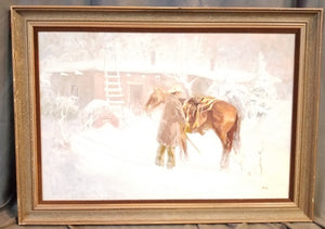 FRAMED OIL PAINTING OF COWBOY AND HORSE IN THE SNOW