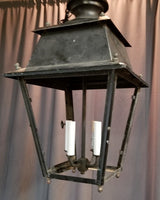 LARGE HANGING METAL LANTERN MISSING GLASS
