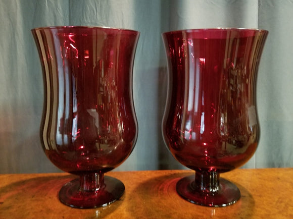 PAIR OF LARGE CRANBERRY COLOR GLASS VASES
