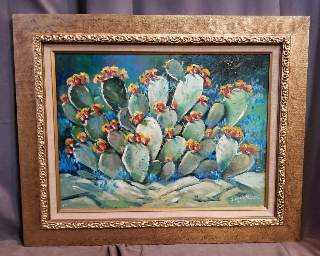 CACTUS IN BLOOM OIL PAINTING BY TEXAS ARTIST HARDY MARTIN