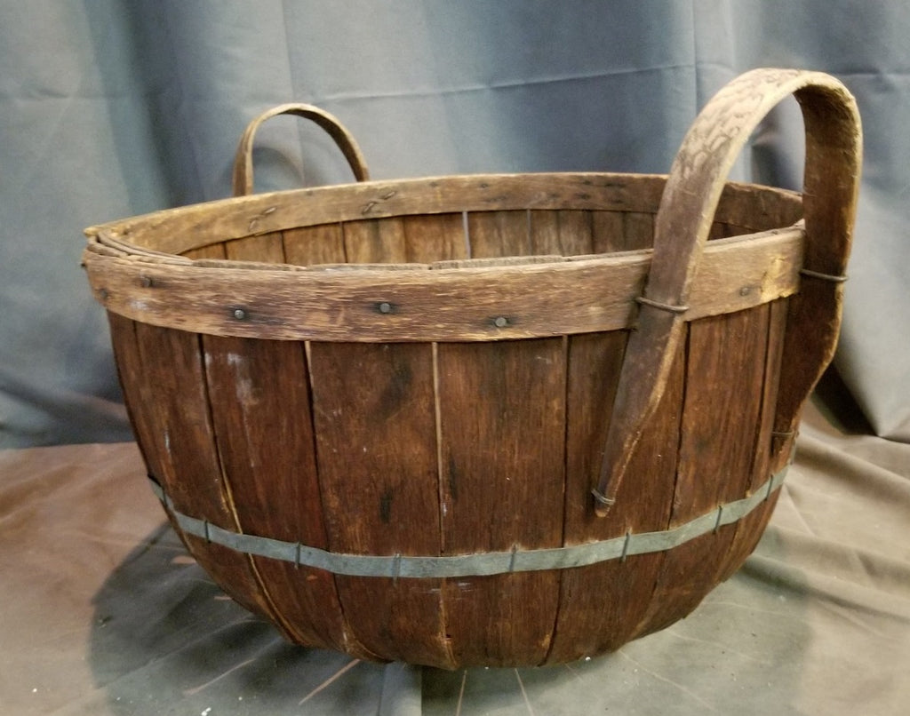 WOOD BASKET WITH HANDLES