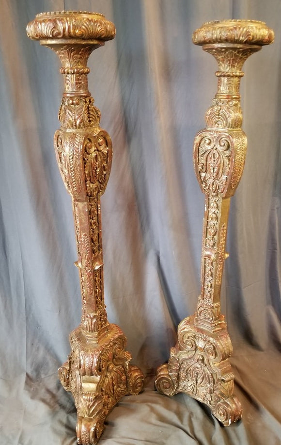 5' TALL PAIR OF CARVED WOOD AND GESSO  GILT CANDLE STANDS