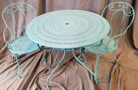 ANTIQUE FRENCH METAL BISTRO TABLE AND 2 CHAIRS