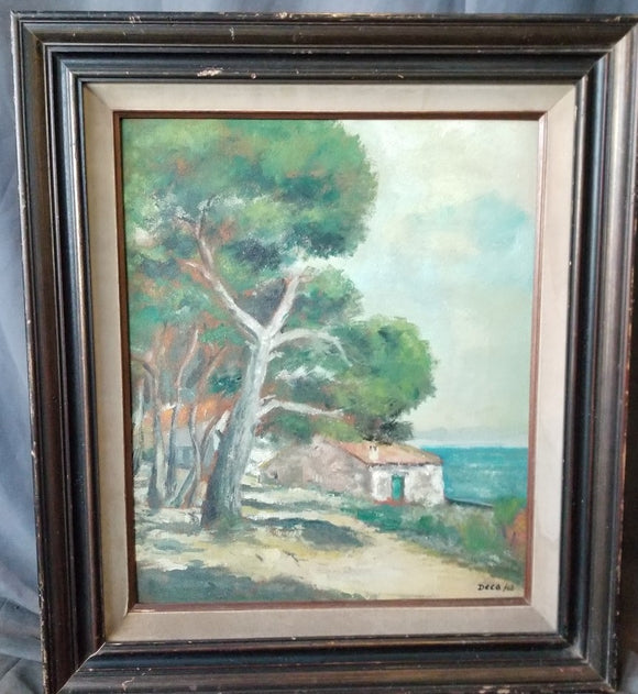VERTICAL LANDSCAPE OIL PAINTING OF HOUSE AND TREES signed DECA/62