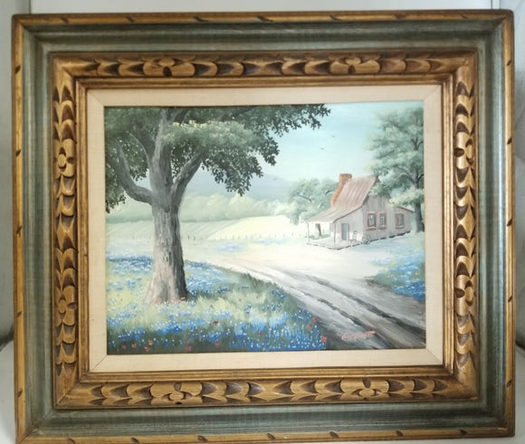 SMALL LANDSCAPE OIL PAINTING OF HOUSE AND SOME BLUEBONNETS BY GUY BUTTO