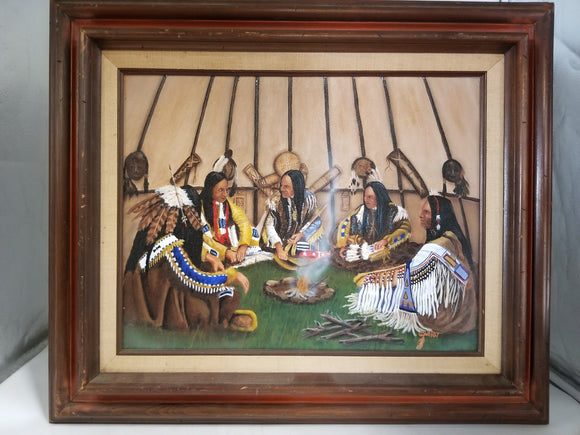 TRIBAL COUNCIL OIL PAINTING