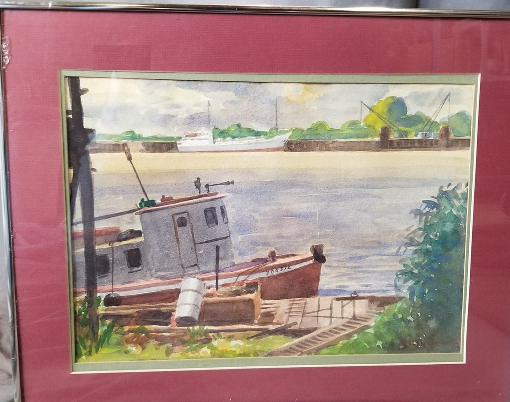 WATER COLOR OF A TUGBOAT SIGNED FRANK SEWELL