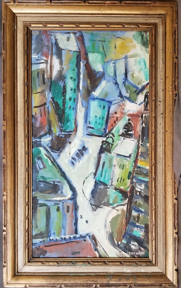 VERTICAL ABSTRACT OIL PAINTING OF A CITY BY SNOWDEN