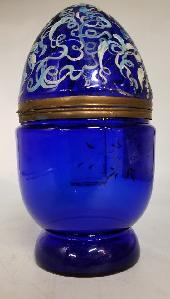 ANTIQUE COBALT GLASS EGG CONTAINER WITH OLD REPAIR