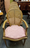SET OF 4 LOUIS XVI STYLE CANED SEAT ARM CHAIRS