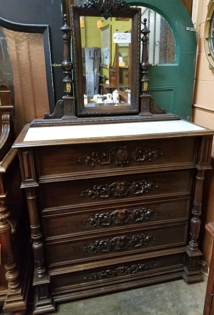 WHITE MARBLE TOP FRENCH HENRI II DRESSER WITH MIRROR