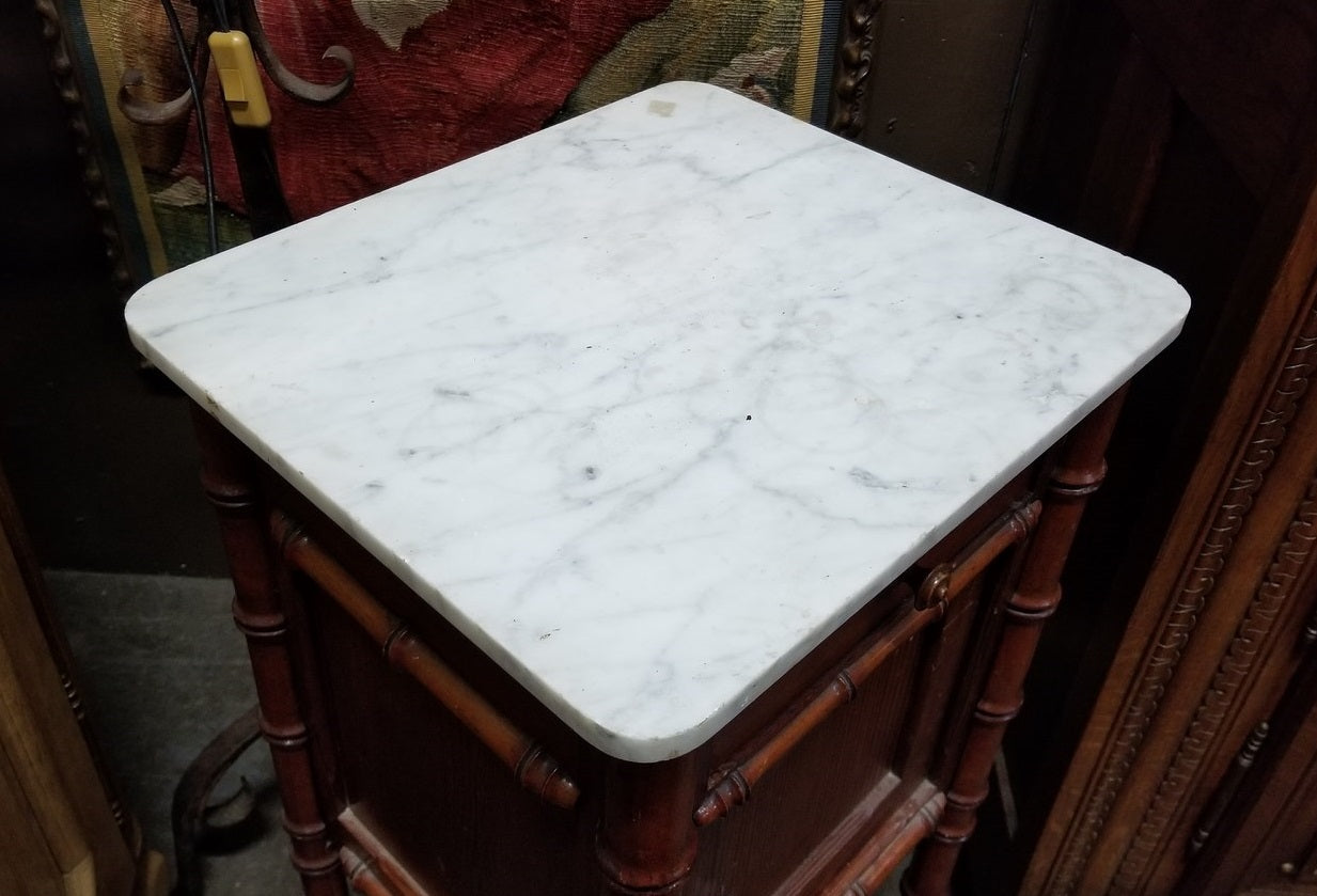 FAUX BAMBOO MARBLE TOP NIGHT STAND