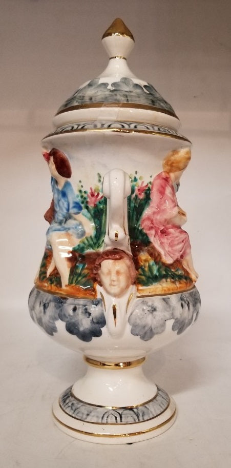 LARGE CAPODIMONTE URN WITH LID