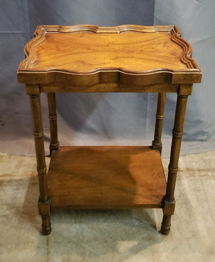 TINY FAUX BAMBOO LEG WALNUT TABLE