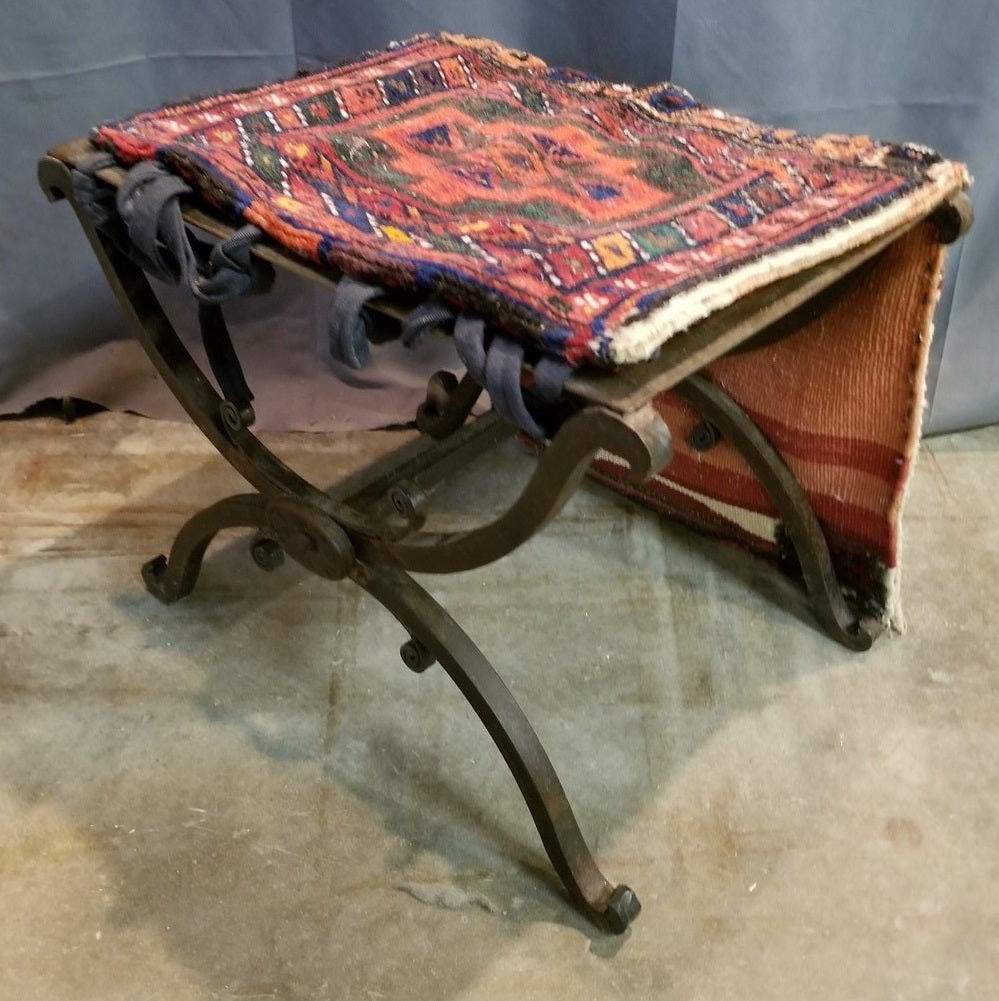 IRON X FORM BENCH WITH RUG FRAGMENT SEAT