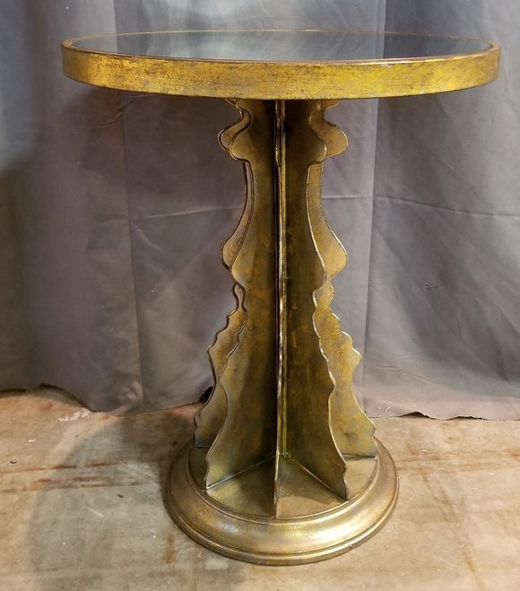 GOLD METAL BASE TABLE WITH ROUND MIRROR TOP