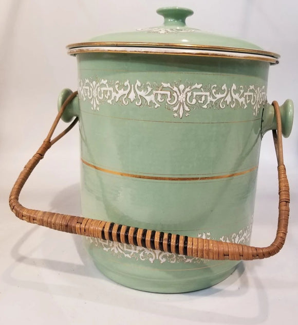 FRENCH ENAMELWARE WASTE PAIL WITH LID