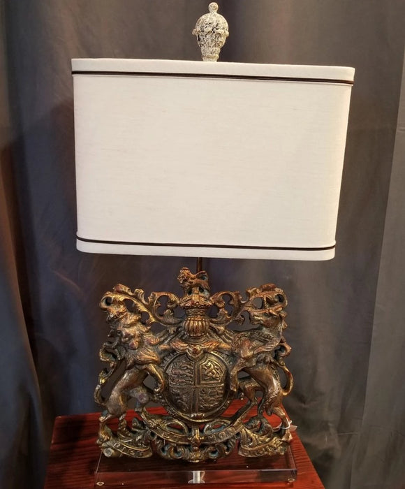 ROYAL CREST LAMP ON LUCITE BASE