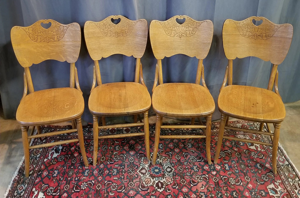 SET OF 4 AMERICAN OAK PRESSED BACK CHAIRS