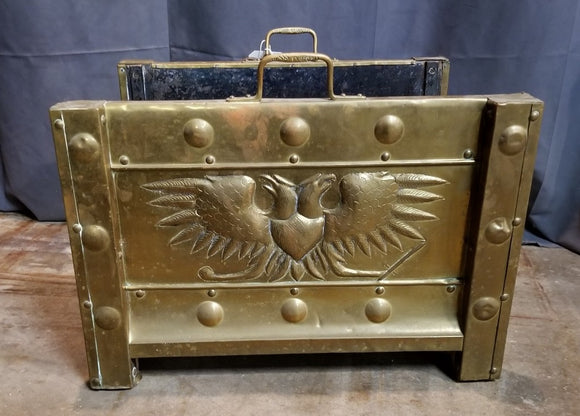 EMBOSSED BRASS DOUBLE HEADED EAGLE LOG HOLDER