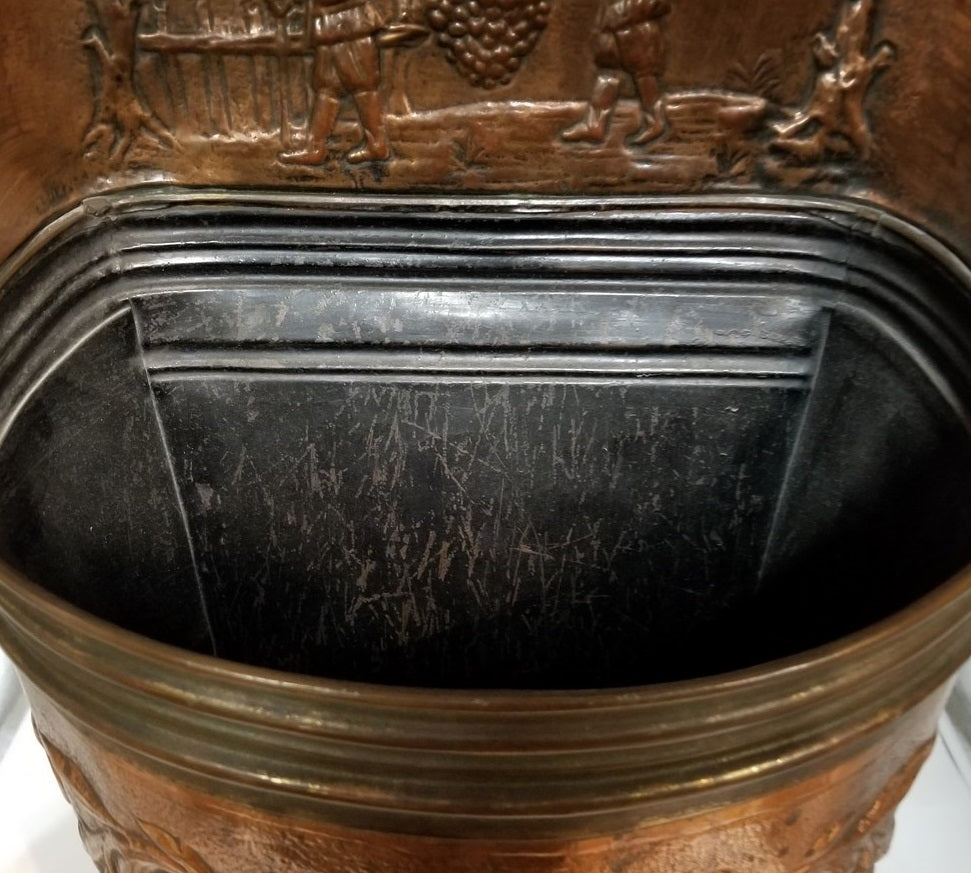 COPPER HALL UMBRELLA STAND WITH ORNATE RELIEF