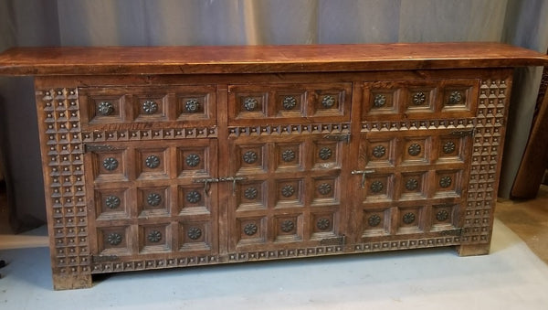 SHALLOW BEADED AND CHIP CARVED SIDEBOARD