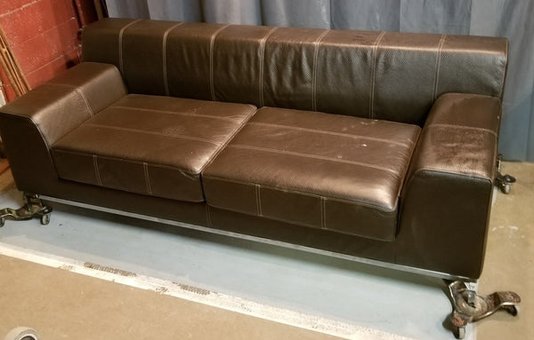 MODERN CHROME AND LEATHER SOFA