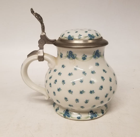 PEWTER AND PORCELAIN LIDDED GERMAN PITCHER