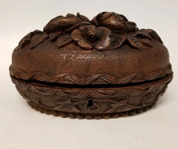CARVED OVAL WOOD BOX