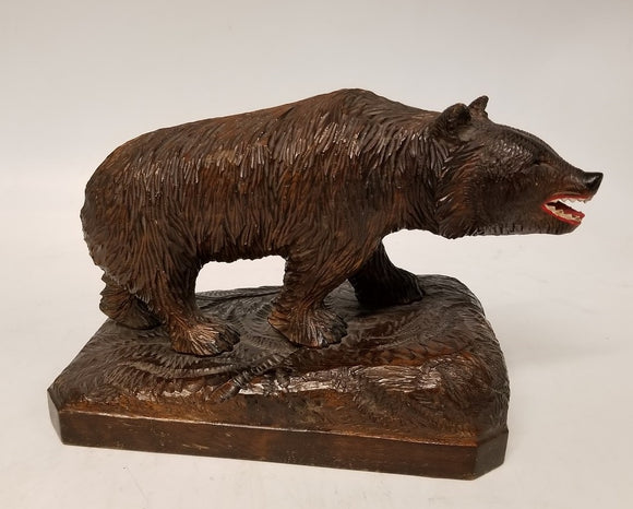 LARGE BLACK FOREST BEAR STATUE