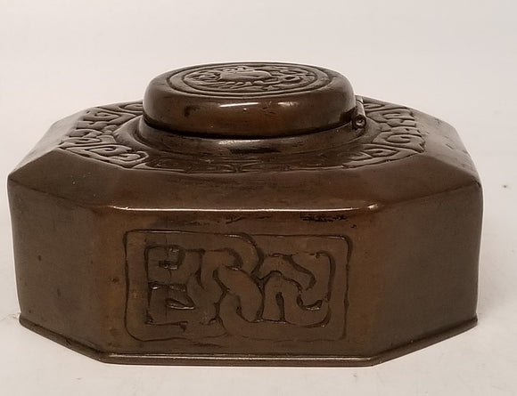 BRONZE TIFFANY ZODIAC INKWELL WITH CRAB