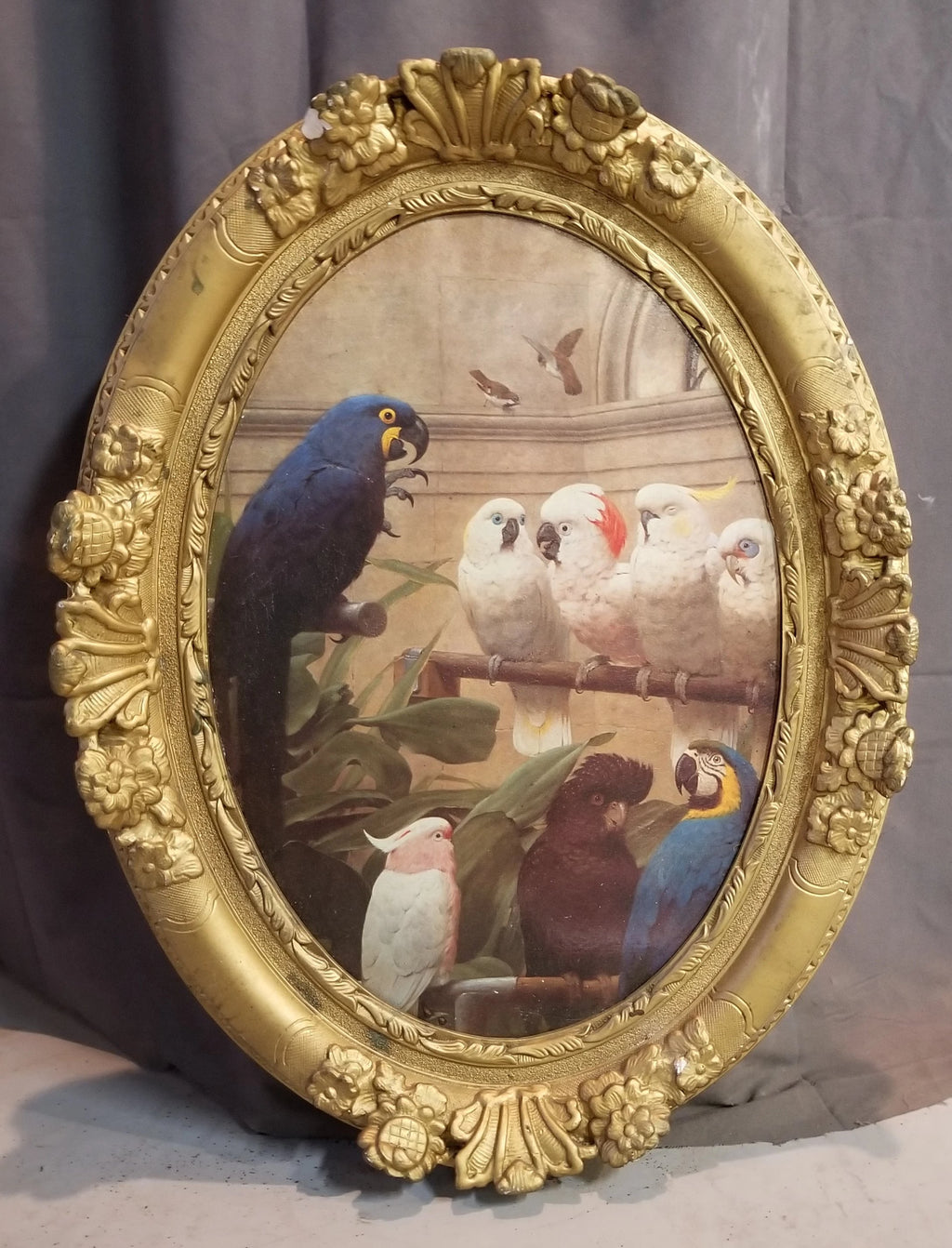 LARGE GOLD FRAME WITH BIRD PRINT