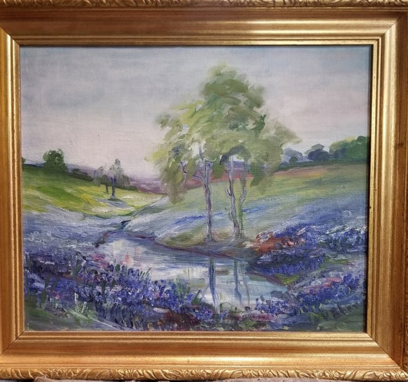 FRAMED IMPRESSIONIST TEXAS RIVER OIL PAINTING
