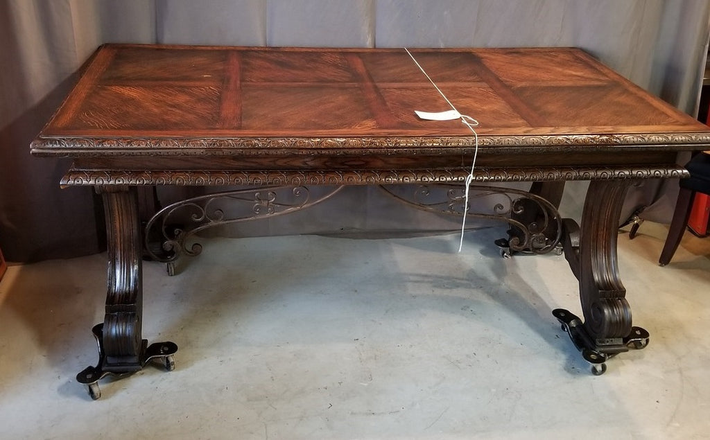 DARK OAK DRAWLEAF TABLE WITH IRON STRETCHER