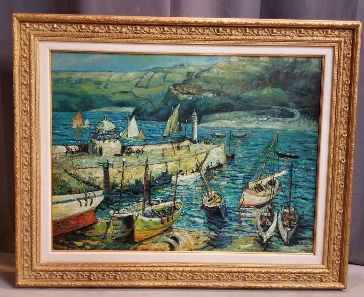 LARGE FRAMED OIL PAINTING OF SAIL BOATS BY THE DOCK