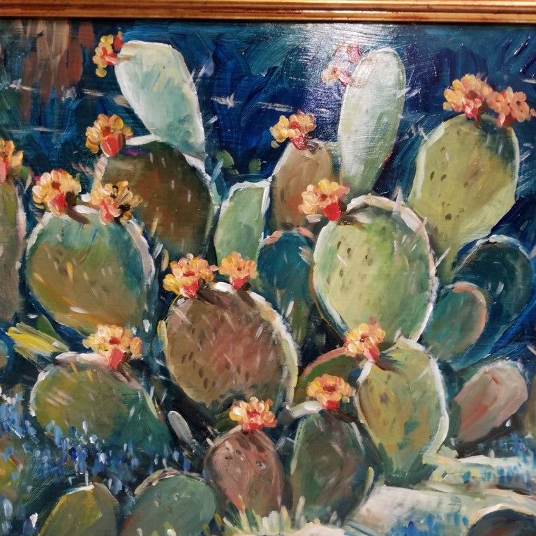 CACTUS OIL PAINTING ON BOARD BY HARDY MARTIN
