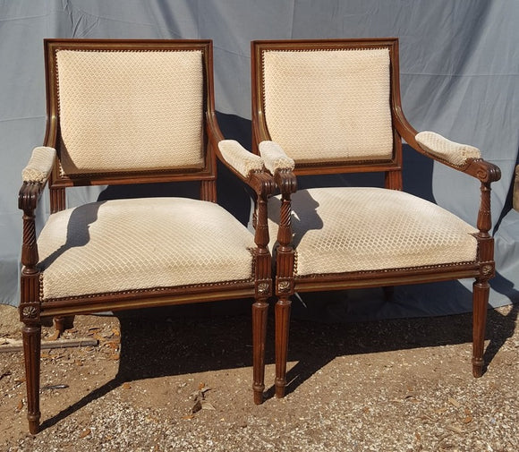 PAIR OF QUALITY LOUIS XVI STYLE ARM CHAIRS